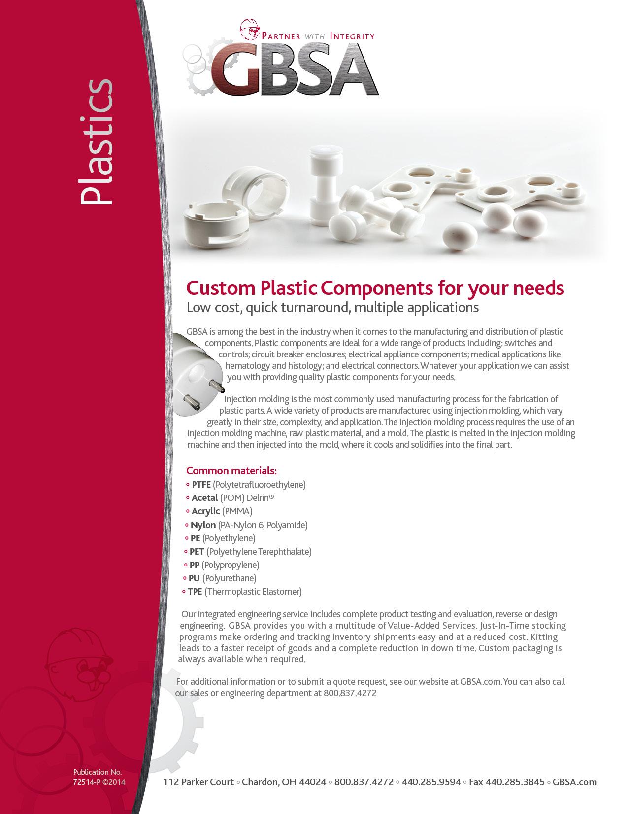 Plastics Brochure Cover - GBSA - Engineers, Manufacturers
